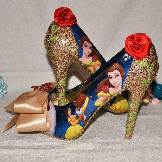 Schoonheid en het beest schoenen goud Crystal hiel op maat