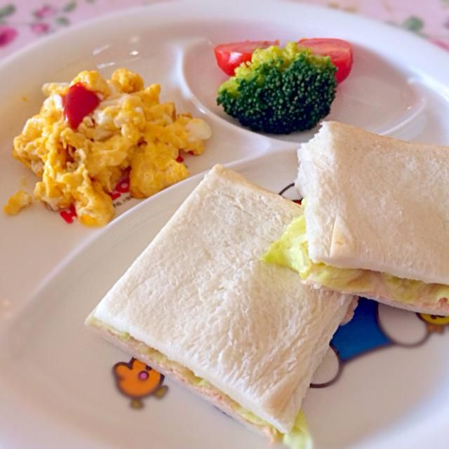 1歳7ヶ月、初めてのサンドイッチはツナマヨとレタスで♡ 興奮気味に完食してくれました♡ - 15件のもぐもぐ - 初めてのサンドイッチ♡ by ひめ♡⑅*