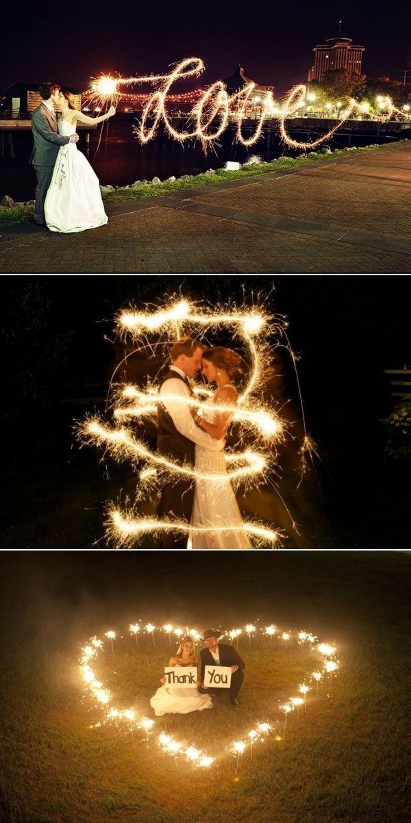 """Fun with sparklers! I really like the """"Love"""" photo. I also like the risk of playing with sparklers in an open field in the heart picture. Who doesn't want to risk burning their wedding venue or a random town to the ground? It's an adrenaline rush!"""