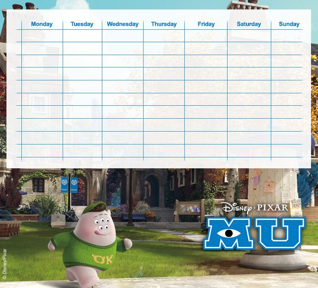 Monsters University Timetables 10