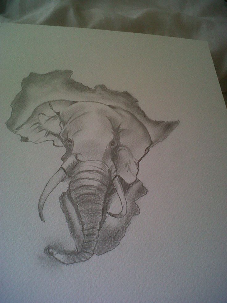 Elephant Head In African Map Tattoo Design