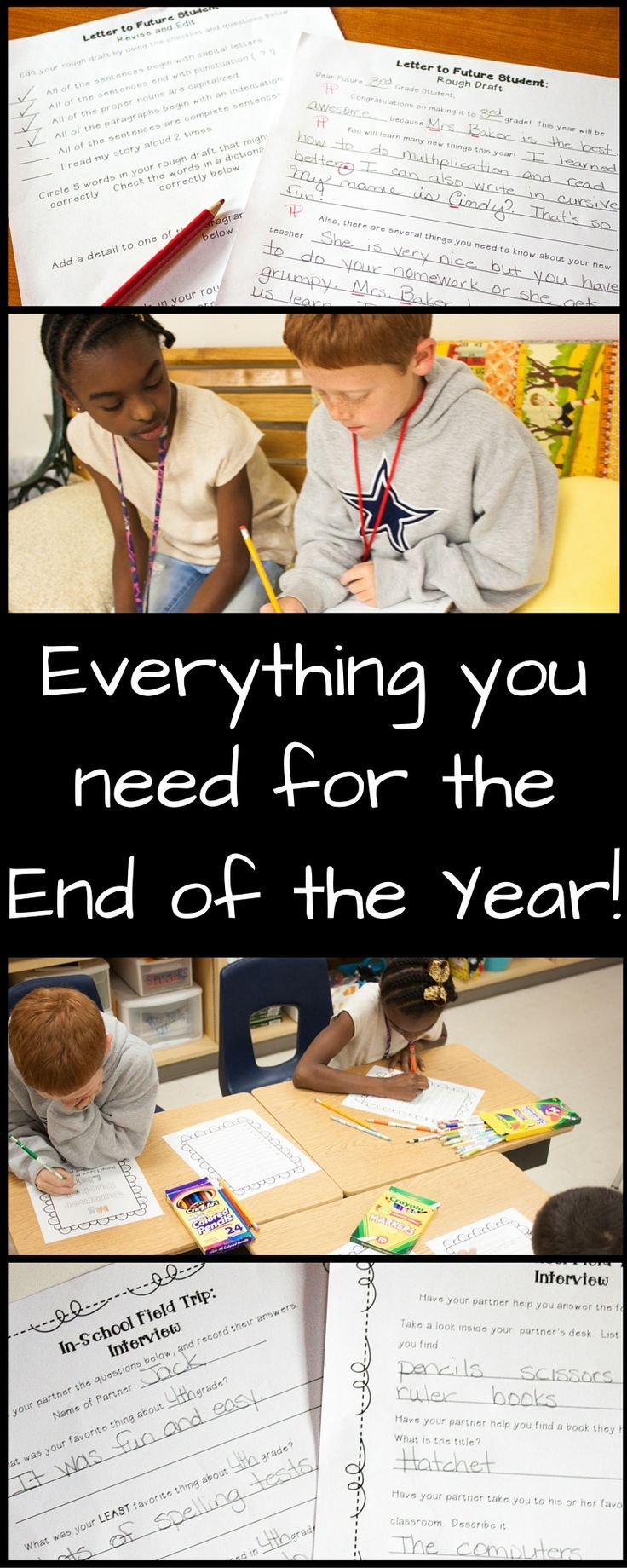 End of Year Bundle contains everything you need to make the end of the year less stressful - no prep activities, reflection questions, an end of year letter template, a summer packet, an in school field trip, and more!  $