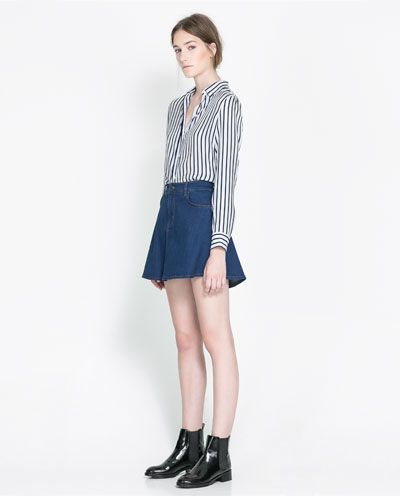Image 1 of DENIM SKATER SKIRT from Zara