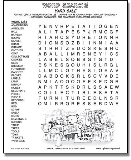 Preview of Word Search - Yard Sale