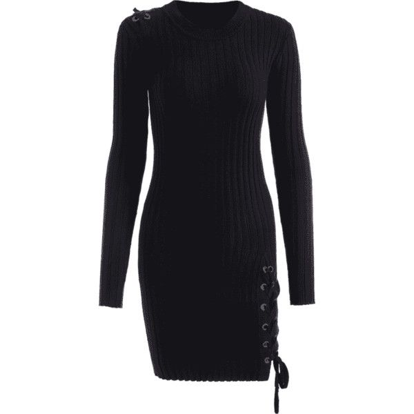 Knitted Lace Up Bodycon Mini Dress Black ($27) ❤ liked on Polyvore featuring dresses, laced dress, bodycon mini dress, lace up front bodycon dress, bodycon cocktail dresses and bodycon sweater dress