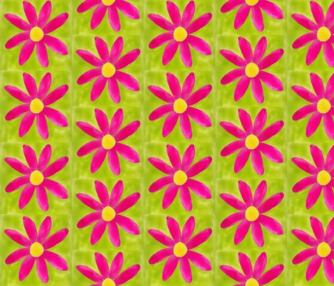 Hot Pink Mod Daisy Custom Fabrics by Suzanne MacCrone Rogers via Spoonflower
