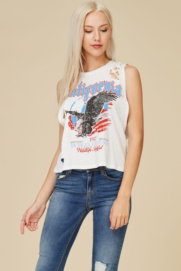 DISTRESSED GRAPHIC TOP