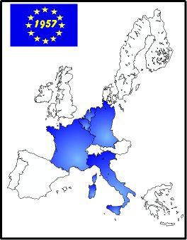 Geschiedenis van Europa: dit zijn de landen in 1957 de EEG opgericht hebben. Dit is later in het jaar 1993 de EU geworden (Europese unie)
