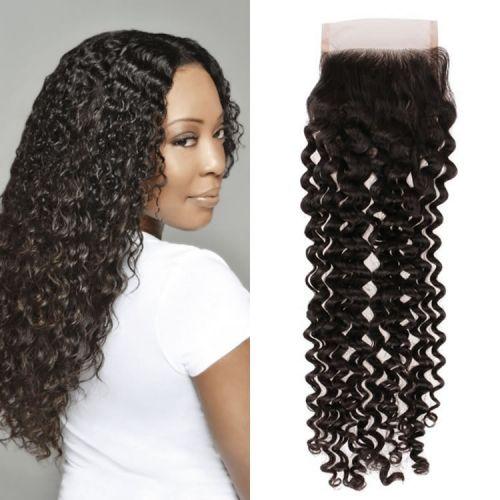 Grade 10a Brazilian Closures Brazilian Remy Hair Deep Curly Hair
