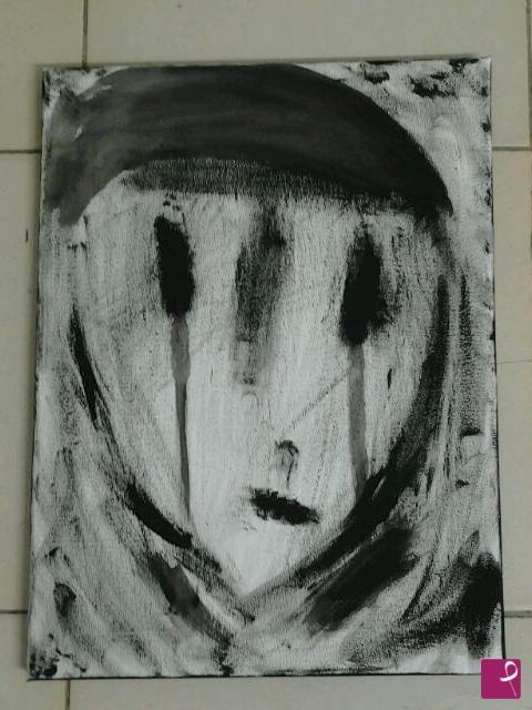 """Don't cry"" Black acrylic on canvas 30x40 - 2013"