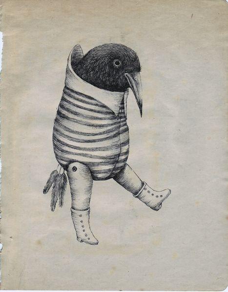 Ericailcane. Eric the dog. bird. art. black & white.