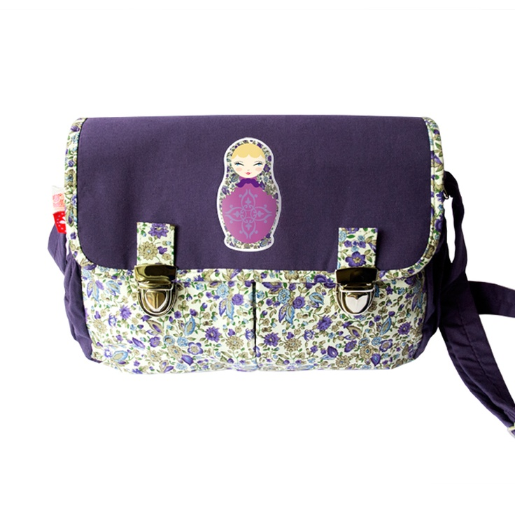 School bag for girl- Besace cartable fille- violette givrée