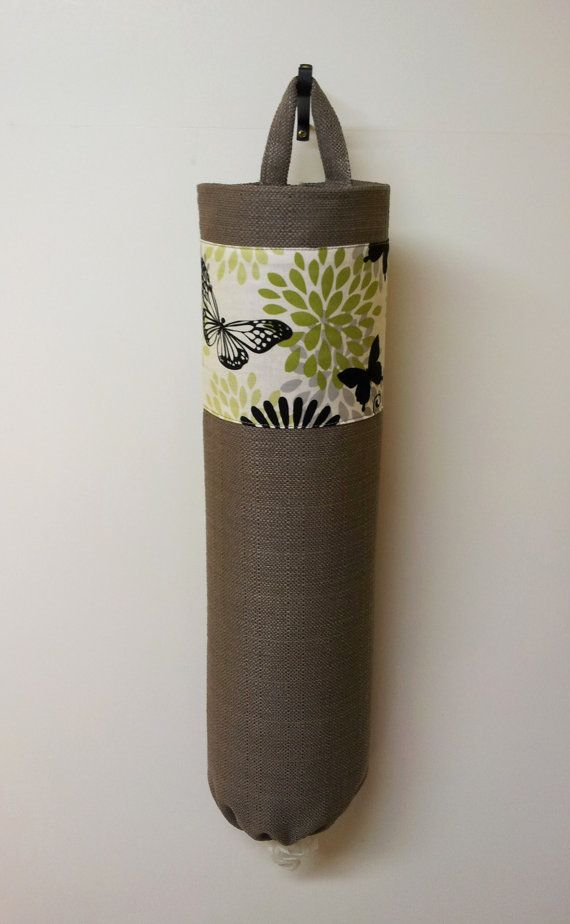 Grocery bag holder, plastic bag dispenser, bags organizer - Butterfly Garden and Grey. $15.99, via Etsy.
