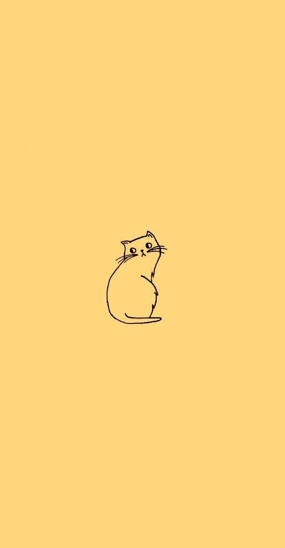 Cat doodle wallpaper in sunflower yellow (edit from original)