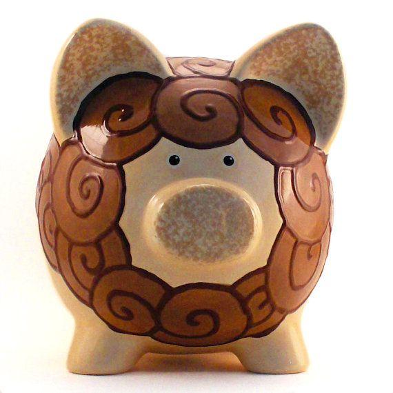 #Lion Personalized Ceramic #PiggyBank by #ThePigPen, $45.50