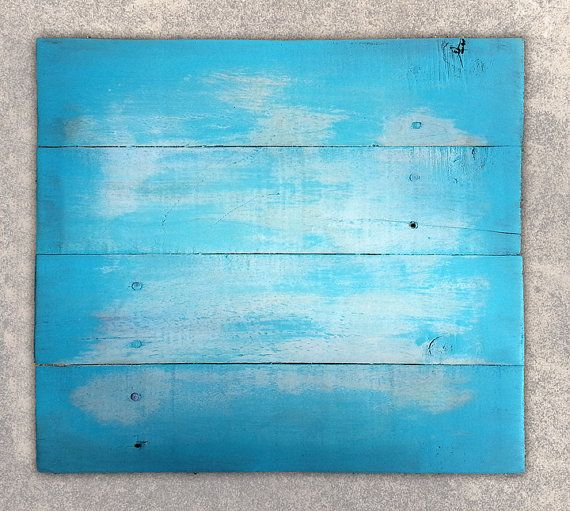 Reclaimed Recycled Upcycled Rustic Blank Distressed Turquoise White Painted Pallet Wood Sign Plaque Ready To Paint