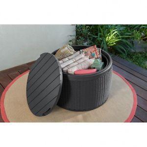 Round Box Basket Storage Seater Coffee Table Indoor/Outdoor Weatherproof Durable   eBay