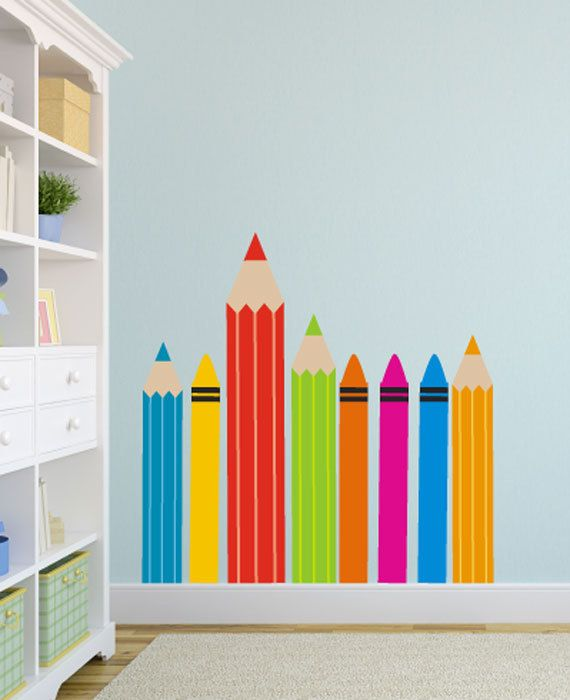 pencils and crayons wall decal by stickerstories on etsy