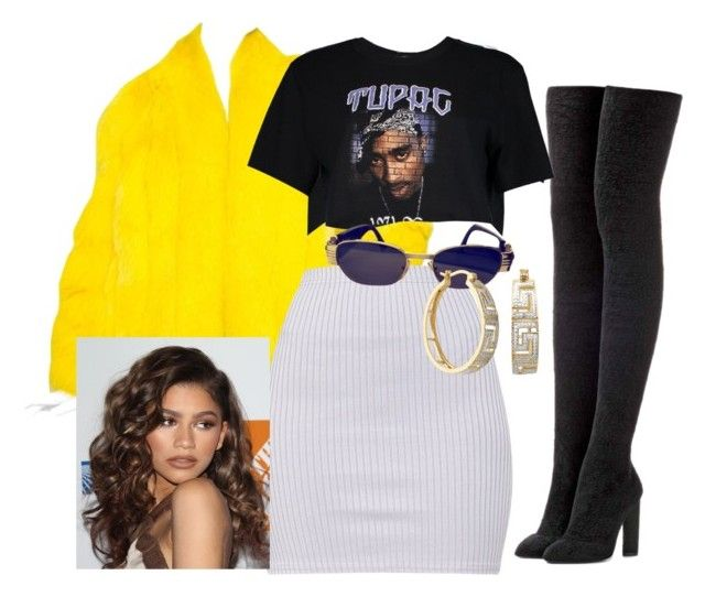 """""""Lemon ,"""" by trillest-queen ❤ liked on Polyvore featuring Saga Furs, adidas Originals, Boohoo, Versace and Coleman"""