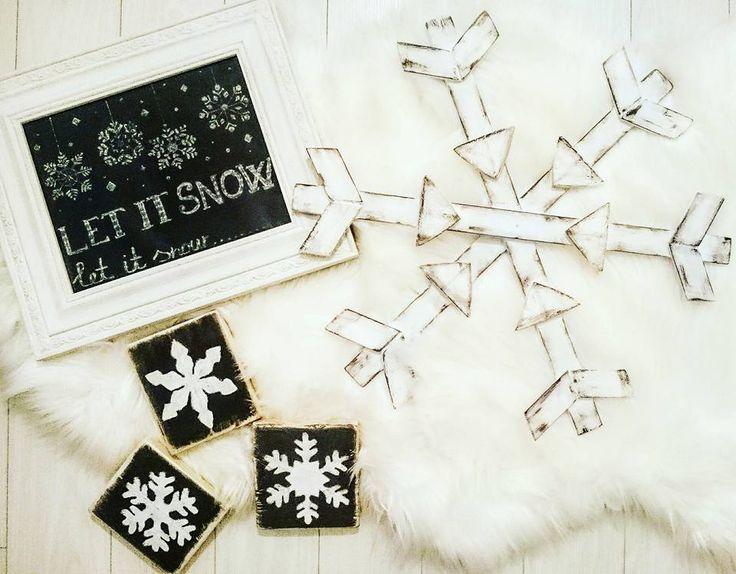 Hópehely, fadarabok, barkácsolás, tél, dekoráció, krétatábla... Winter, snowflake, wood, diy....chalkboard....