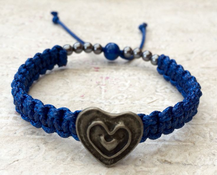 Blue Heart Button Bracelet