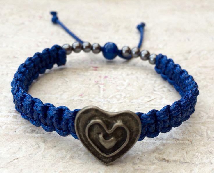 Blue Heart Button Bracelet