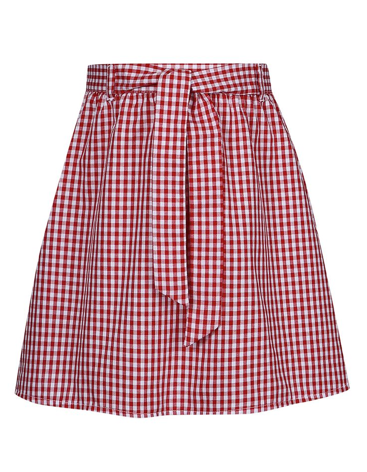 Belted Gingham Skirt – Red | School | George at ASDA