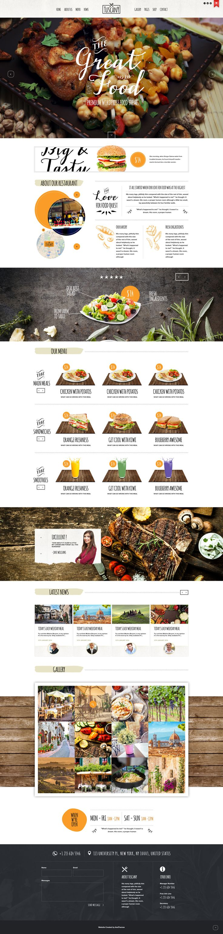 Tuscany - Restaurant Shop Creative WordPress Theme • Download ➝ https://themeforest.net/item/tuscany-restaurant-shop-creative-wordpress-theme/10109008?ref=pxcr