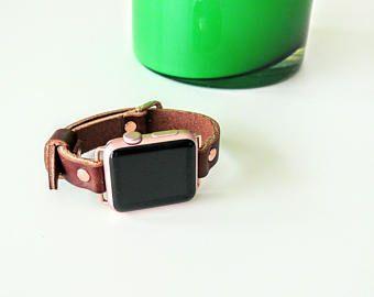 Single wrap band, Apple Watch Band, Genuine Leather band 38mm, Brown leather strap, Apple watch band, handmade single tour band, apple band
