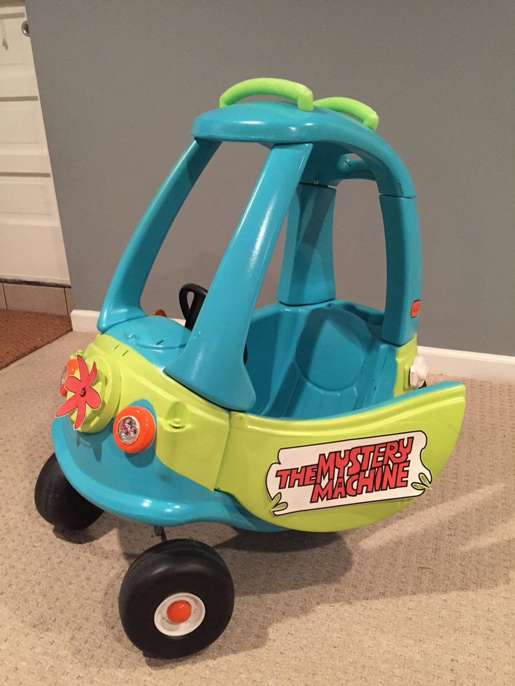 Mystery Machine Cozy Coupe makeover with working headlights and tail lights. It's a work in progress.