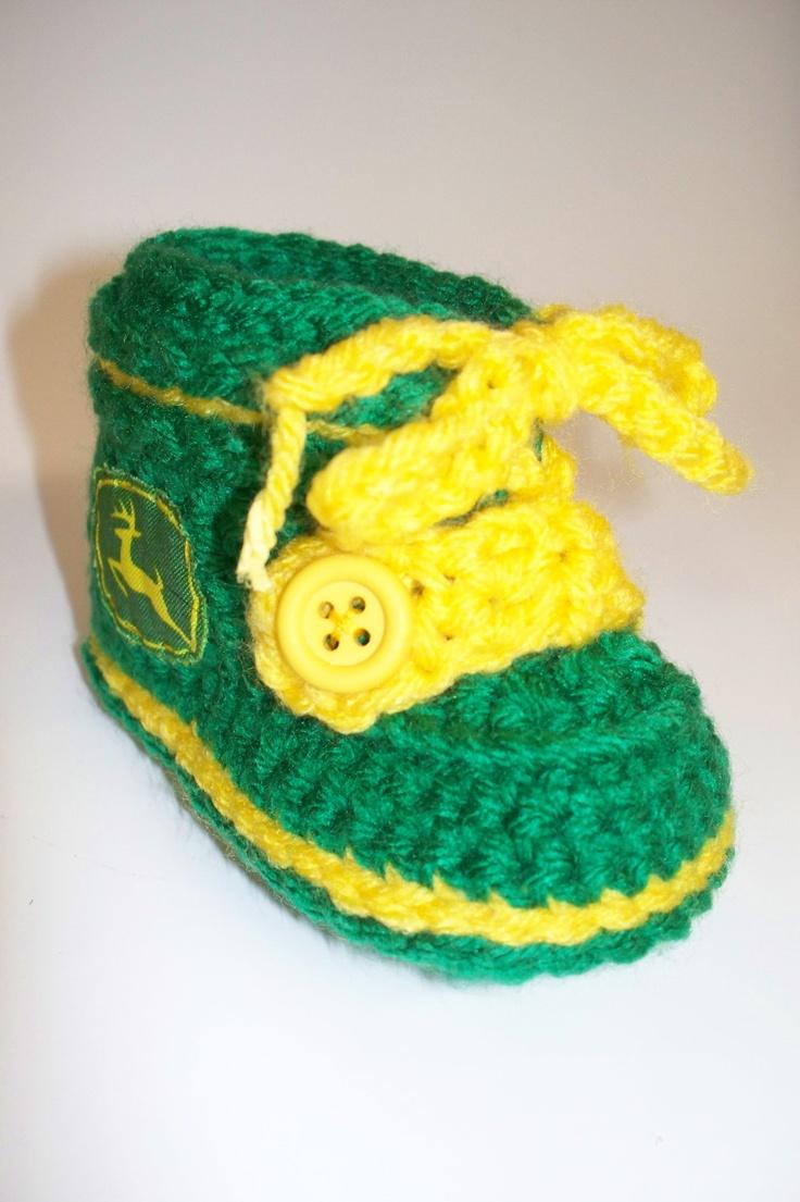 Baby John Deere Style Work Boots Green Yellow by anniekscreations, $18.00