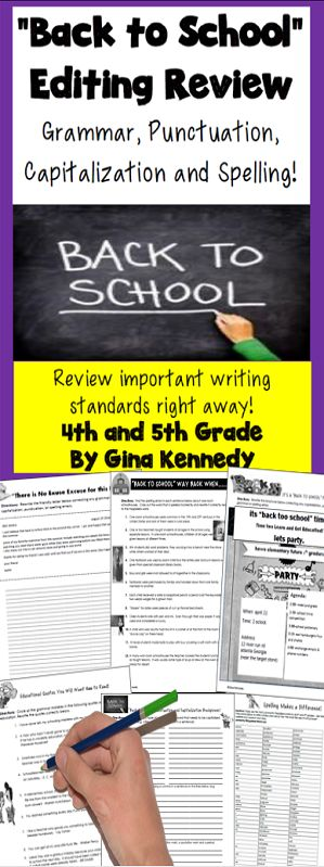 """""""Back to School"""" themed editing and writing review activities! Students review punctuation, capitalization, spelling and grammar skills with these fun activities. From editing a """"back to school"""" letter to finding the grammatical errors in educational quotes and more; this is an excellent way to keep your back to school activities educational and relative!$"""