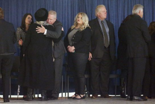 Hundreds of Rob Ford mourners say goodbye to a 'brother' at city hall:  Rob Ford's most dedicated supporters lined up on Monday for a public visitation to say farewell. The repose continues Tuesday, followed by his funeral on Wednesday.  (Toronto Star 28 March 2016)
