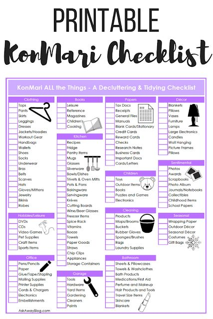 The Ultimate KonMari Decluttering + Tidying Checklist