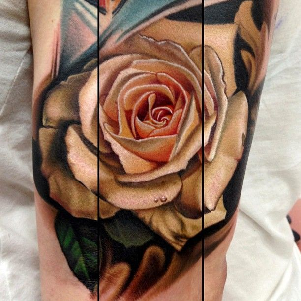 Close-up of one of my favourite rose tattoos By Nikko Hurtado