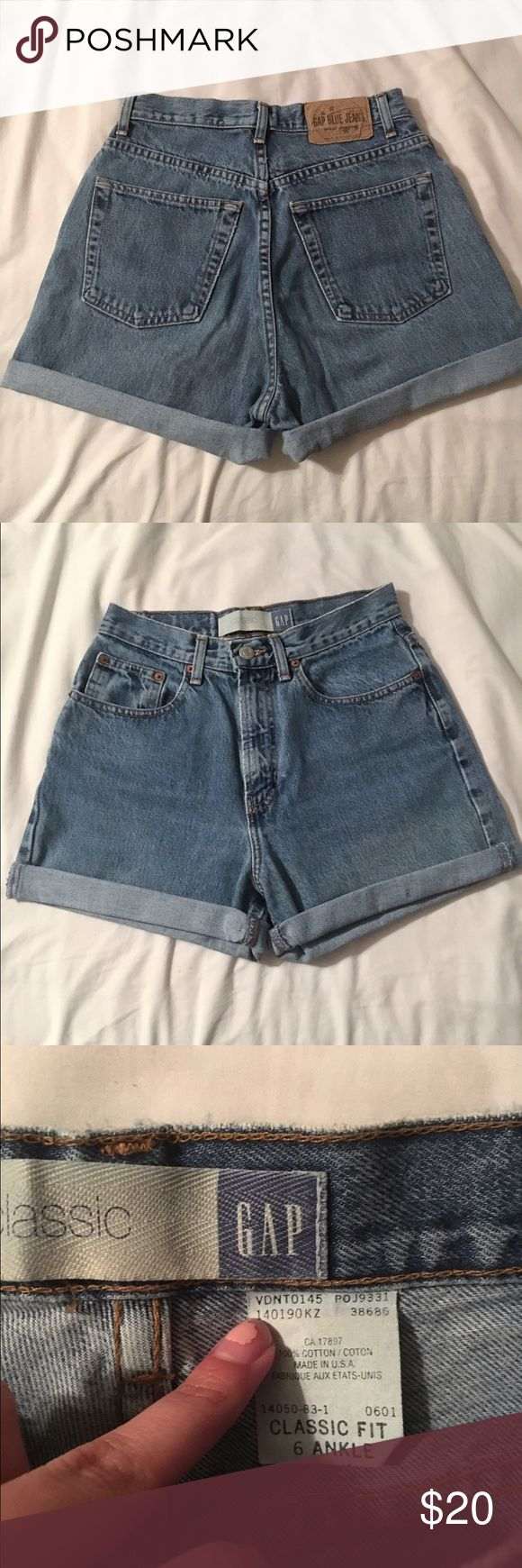 Vintage high waisted shorts Homemade denim gap shorts! Super comfy, could roll up if you want a shorter look 🌺 size says 6 but actually size ranges from size 0-3, depending on how tight you like your shorts. I range from a size 0-3 and these fit me well. Feel free to ask questions! GAP Shorts Jean Shorts