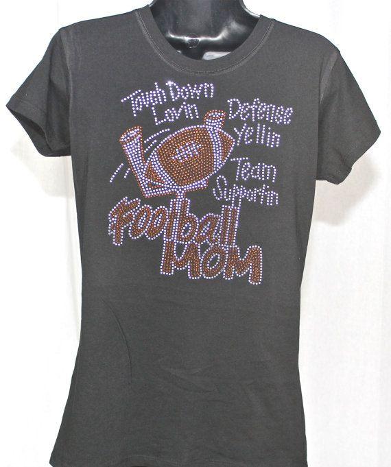 Football Mom Big Bling Rhinestone T-shirt - Goal Post Series on Etsy, $19.99