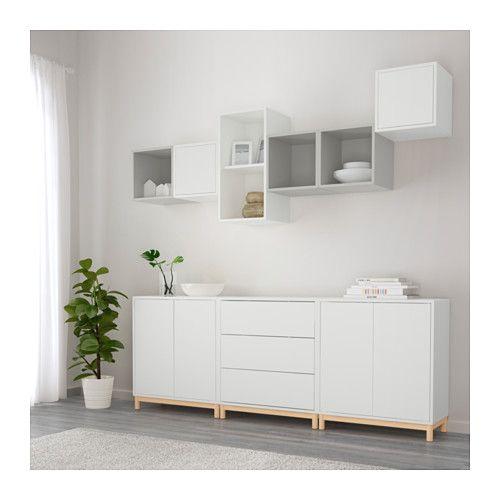 EKET Schrankkombination/Untergestell - weiß/hellgrau - IKEA