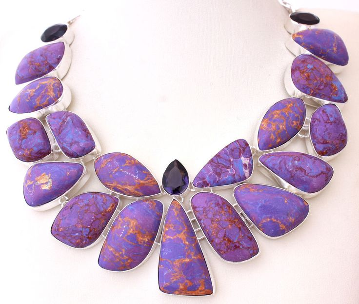 UNIQUE HUGE COPPER TURQUOISE-AMETHYST QUARTZ 925 STERLING SILVER NECKLACE T537 #925silverpalace #Charm