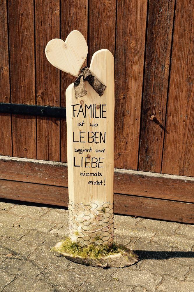 Deko – Holz – Säule – Accessoires – Familie – Liebe / Handgemacht in Möbel & Wohnen, Dekoration, Schilder & Tafeln   eBay!