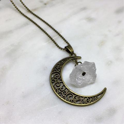 Moon Necklace with Rock Crystal