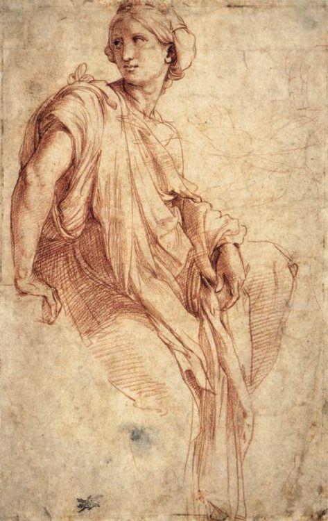 "mindofnox: "" Study of a Sibyl (recto), Raffaello Sanzio. 1511-12 Red chalk over Stylus, 262 x 167 mm British Museum, London """
