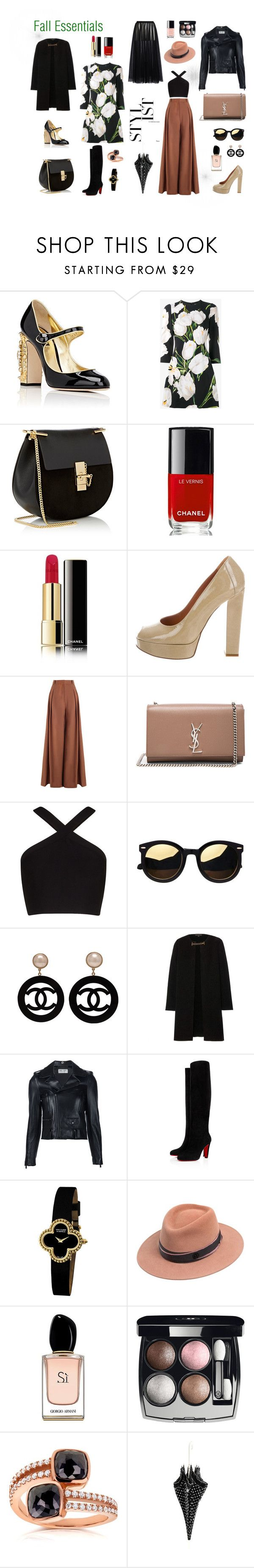 """Fall Essential '16"" by dpintainha on Polyvore featuring Dolce&Gabbana, Chloé, Chanel, Lanvin, Zimmermann, Yves Saint Laurent, BCBGMAXAZRIA, Burberry, Van Cleef & Arpels and Maison Michel"