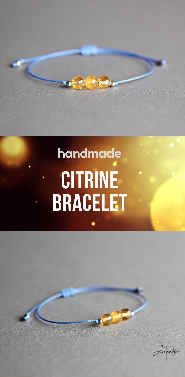 gifts for women, Citrine gemstone bracelet 2 mm with 925 silver