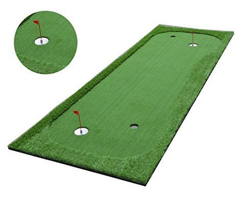 This 1 x 3 meter golf sport par 2 hole practice putting green by Macanudc enables you to stand on the putting surface and putt from different angles