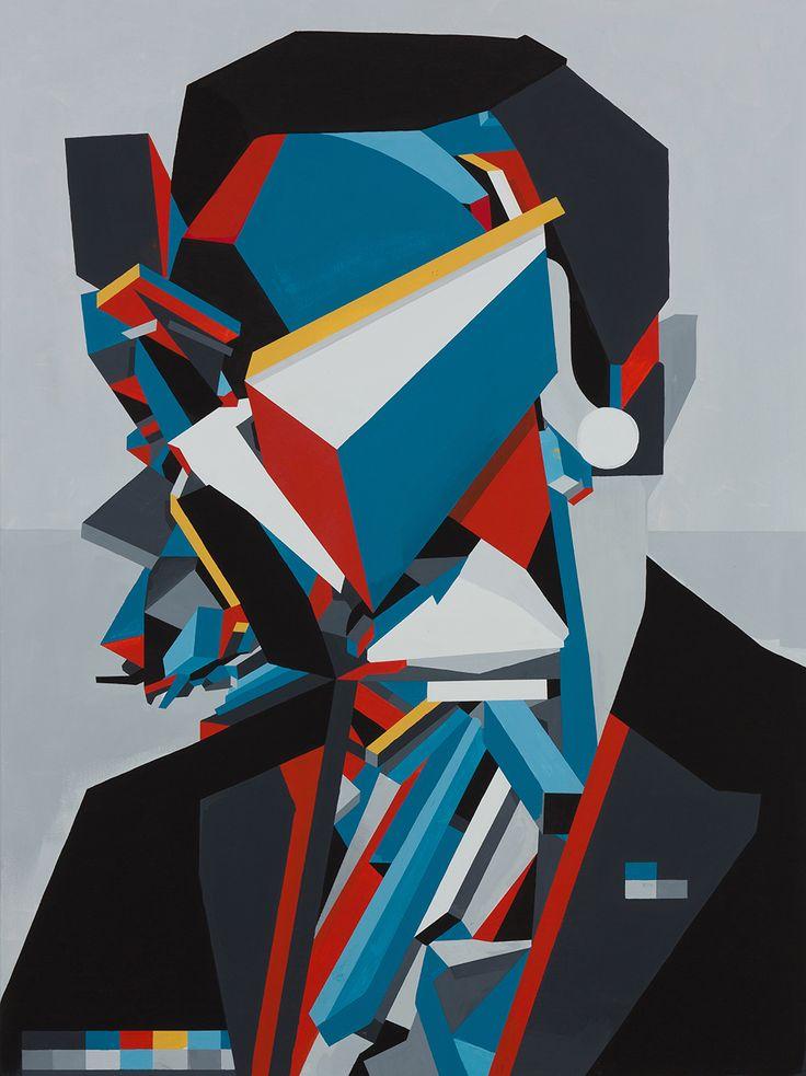 "Tobias Kroeger, ""Head II"" Acrylic on Canvas, 2016, 60x80cm - Cubist, Contemporary, Art, Painting, Geometric, Portrait"