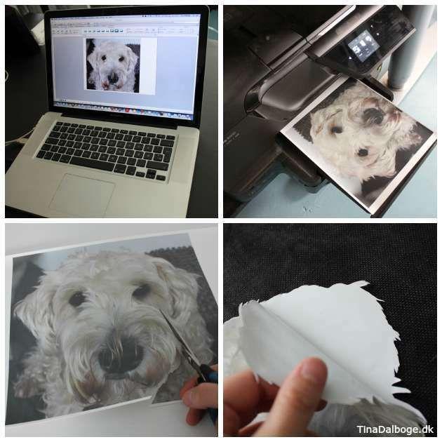 Overfør dit eget foto til en pude. Se trin for trin hvordan. Køb transferpapir i kreahobshop.