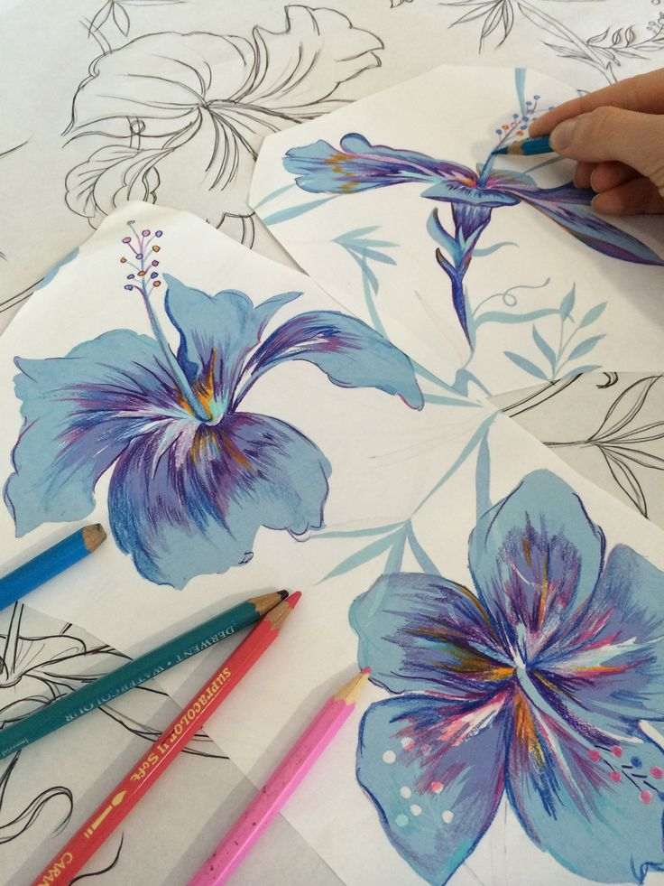 Painting hibiscus flowers in the Matthew Williamson studio for the botanical feather print of Pre Spring 2015.