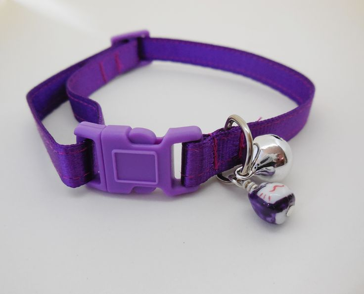 Satin lined 10mm adjustable webbing Cat Safety Collar. Purple.  Buy here: http://stores.ebay.com.au/casa-di-gata-house-of-cats