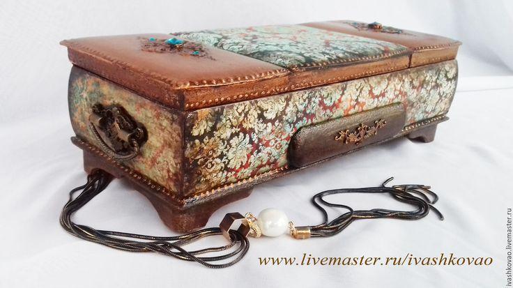 Buy Box Фирюзэ2 - turquoise, box, jewelry box, handmade box, box-triptych